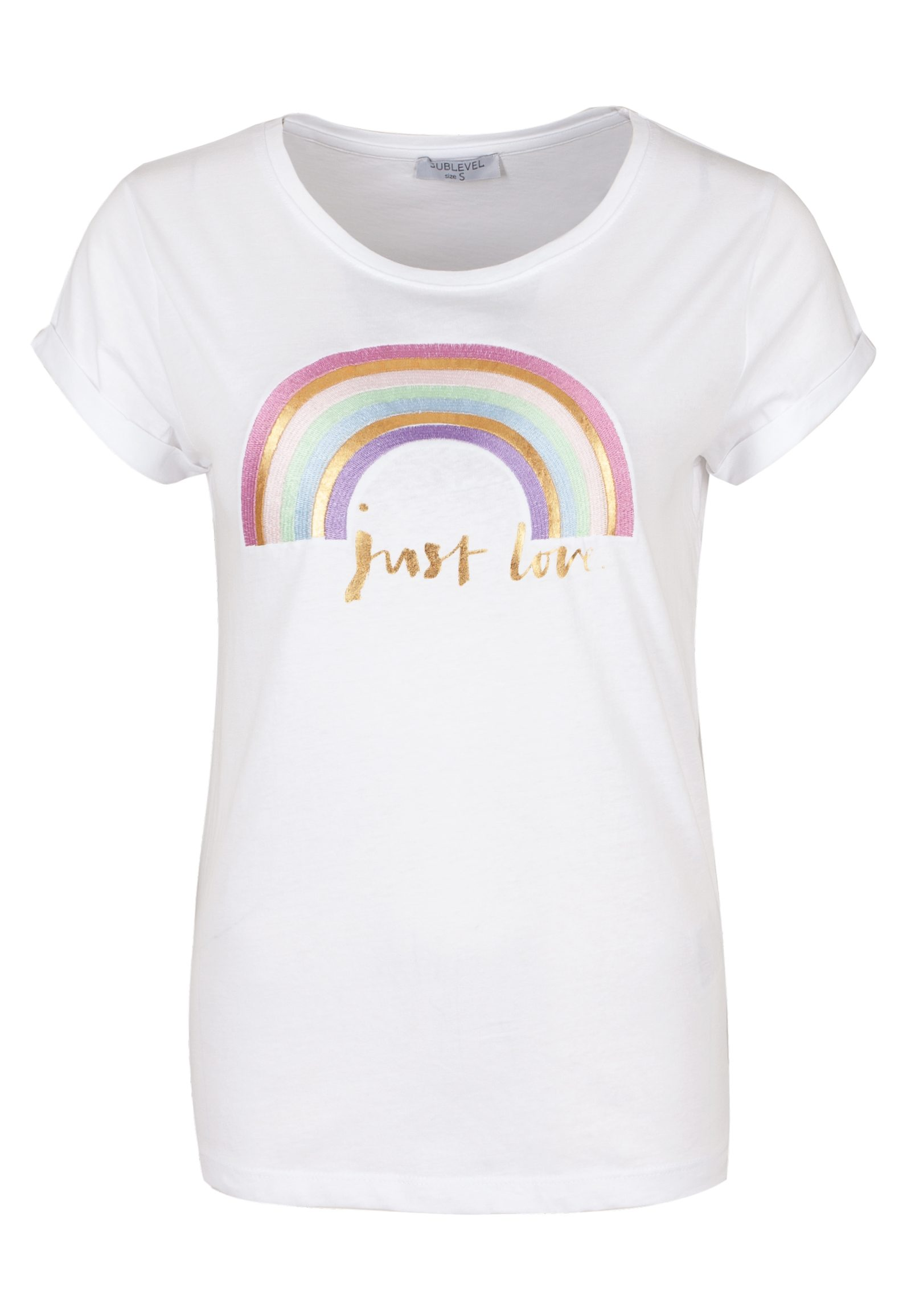 SUBLEVEL Damen T-Shirt mit Rainbow Stickerei weiß | 04058427482929