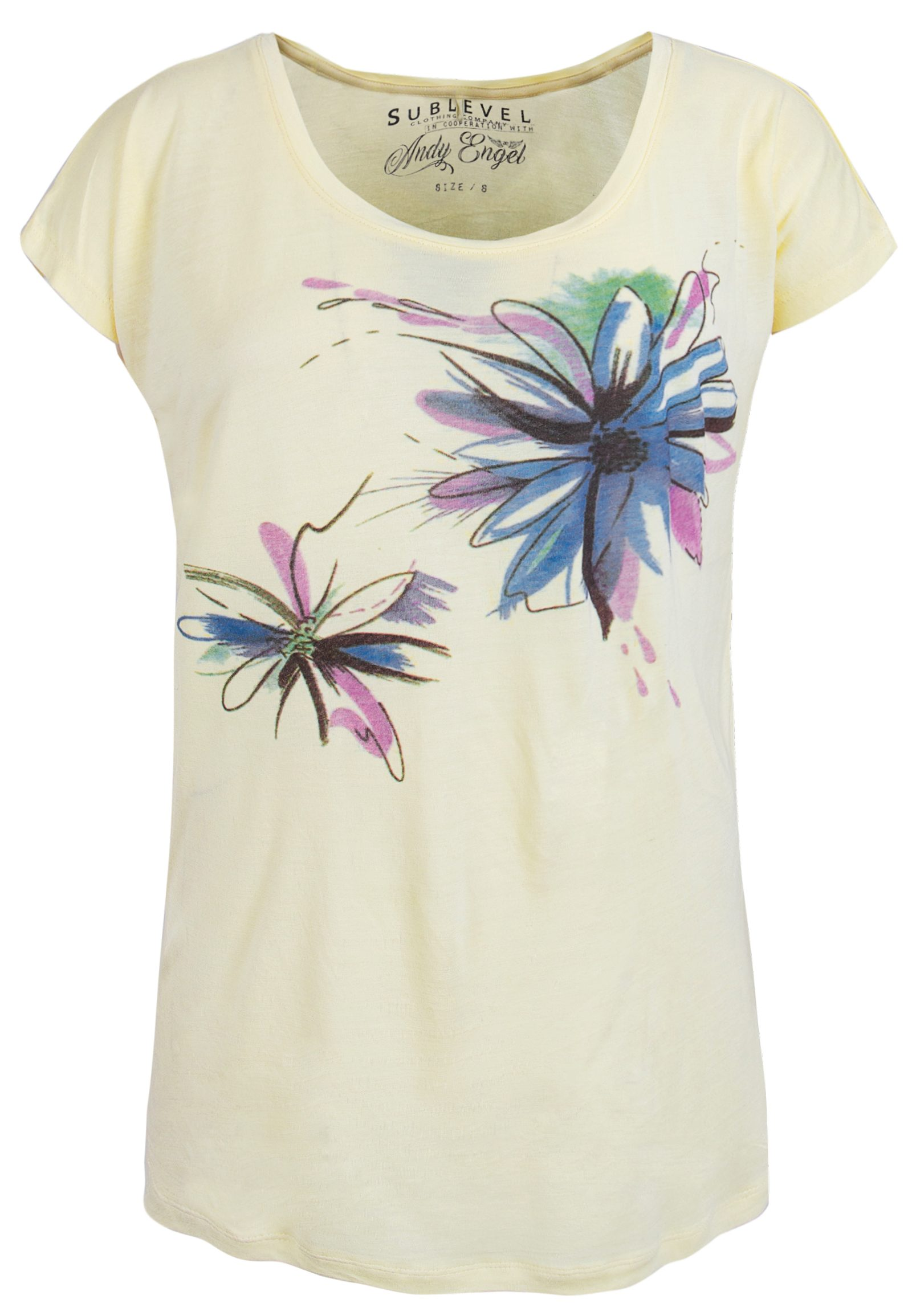 SUBLEVEL Damen T-Shirt mit Watercolour Print gelb | 04058427552790