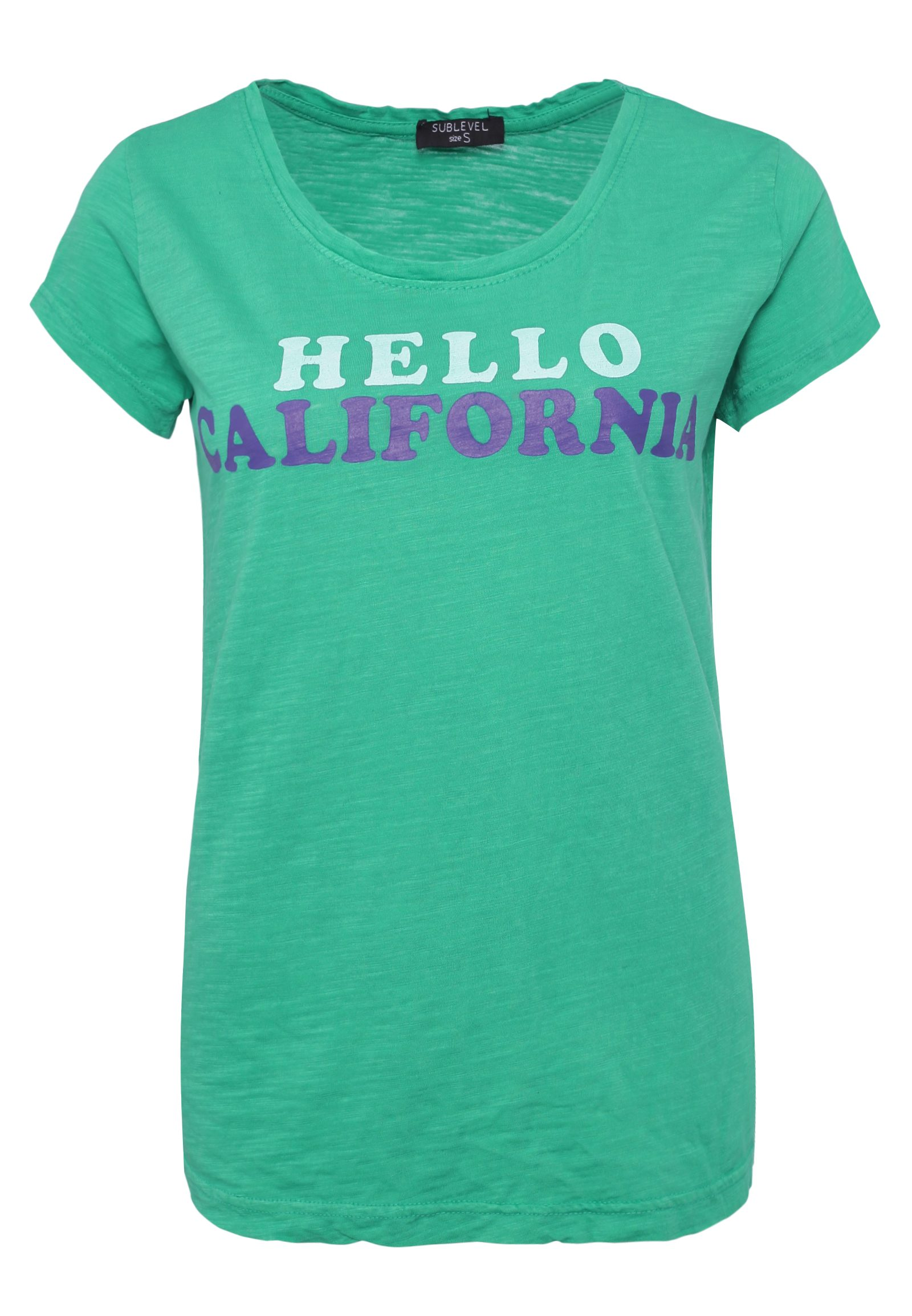 SUBLEVEL Damen Used Statement T-Shirt türkis | 04058427462372