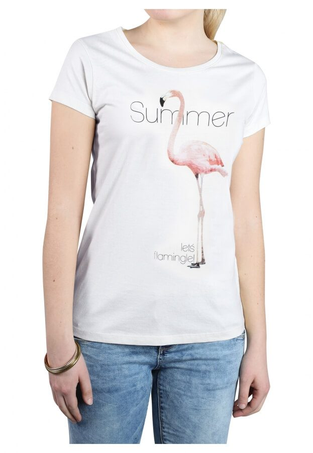 T-Shirt mit Flamingo Print
