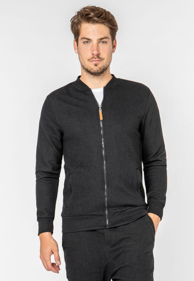 Sweat Jacke in Ripp-Optik