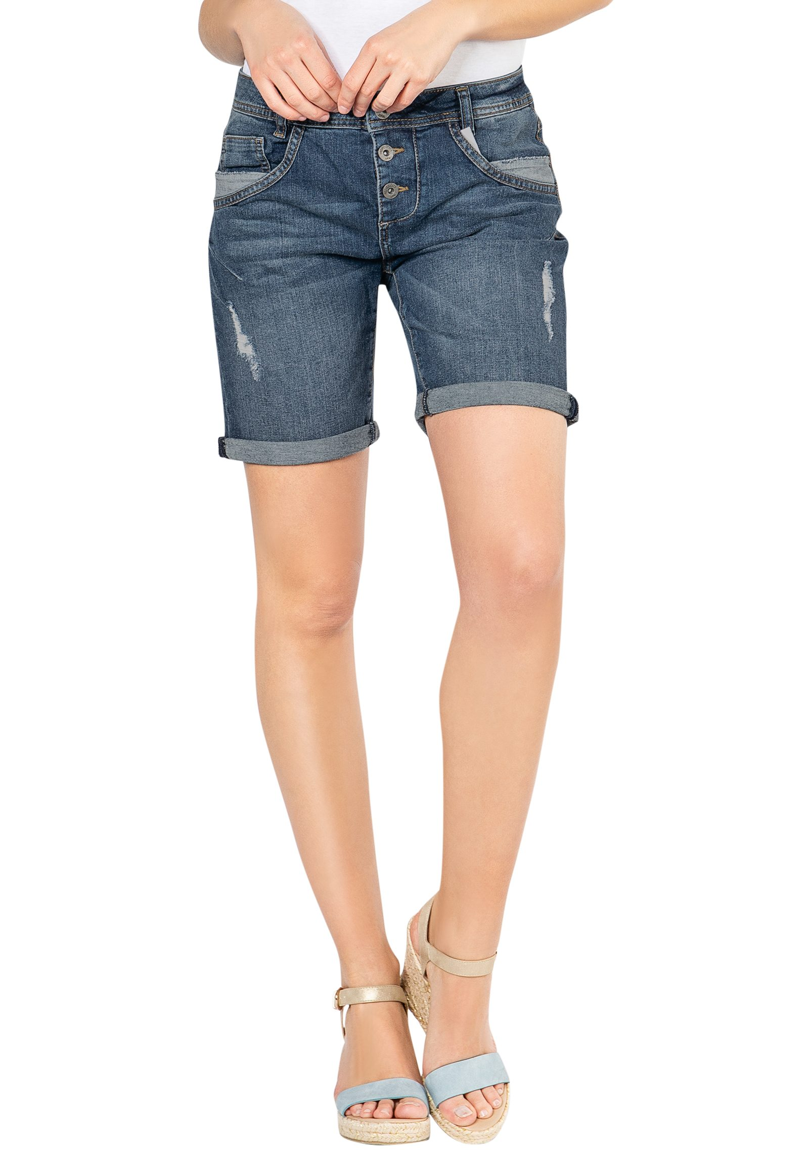 Hosen - Damen Jeans Bermuda › Fresh Made › dunkelblau  - Onlineshop FASHION5