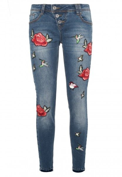 Jeans AMY mit Rosen-Patches