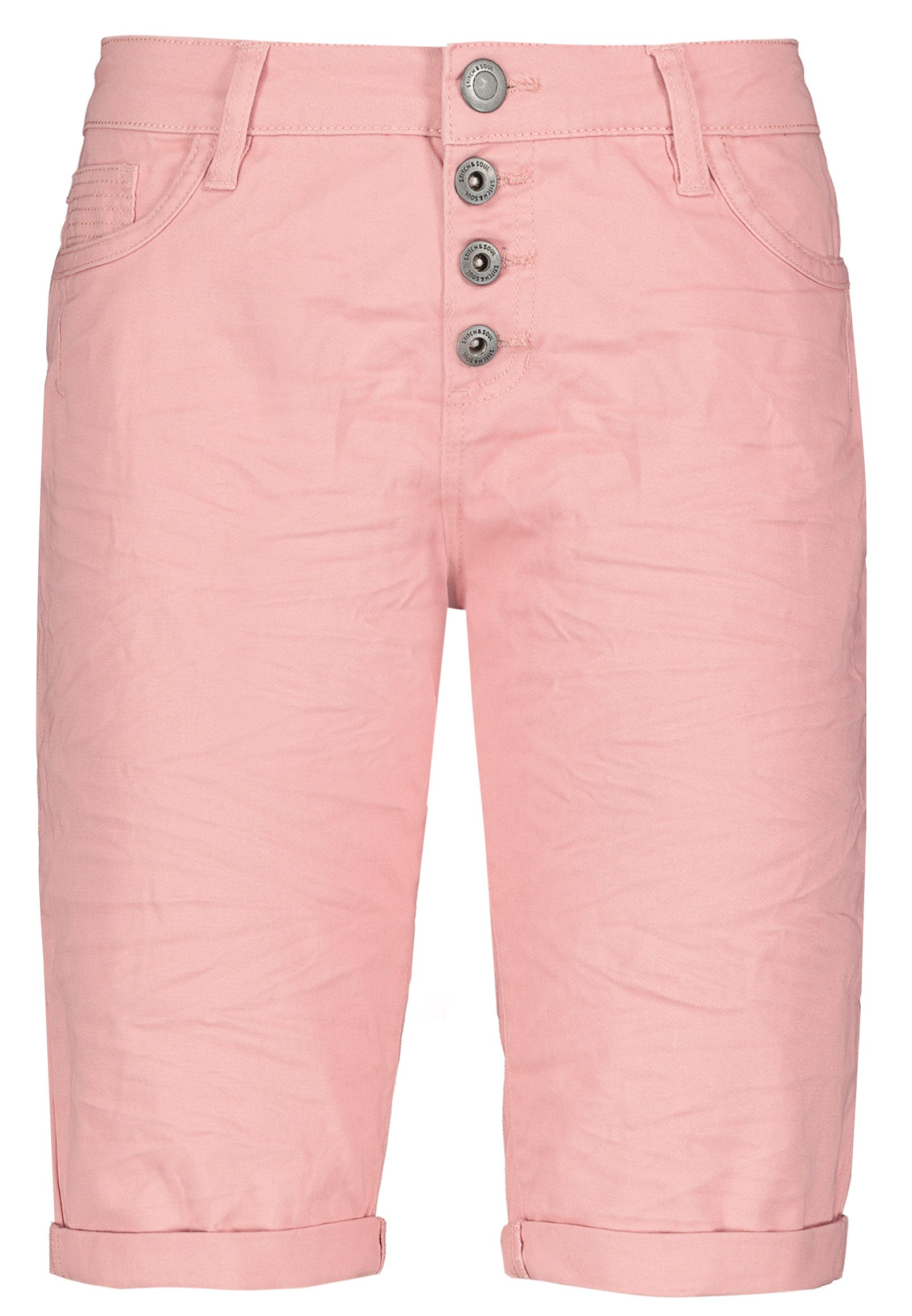 Hosen - 5 Pocket Bermuda mit Aufschlag › Stitch Soul › rosa  - Onlineshop FASHION5