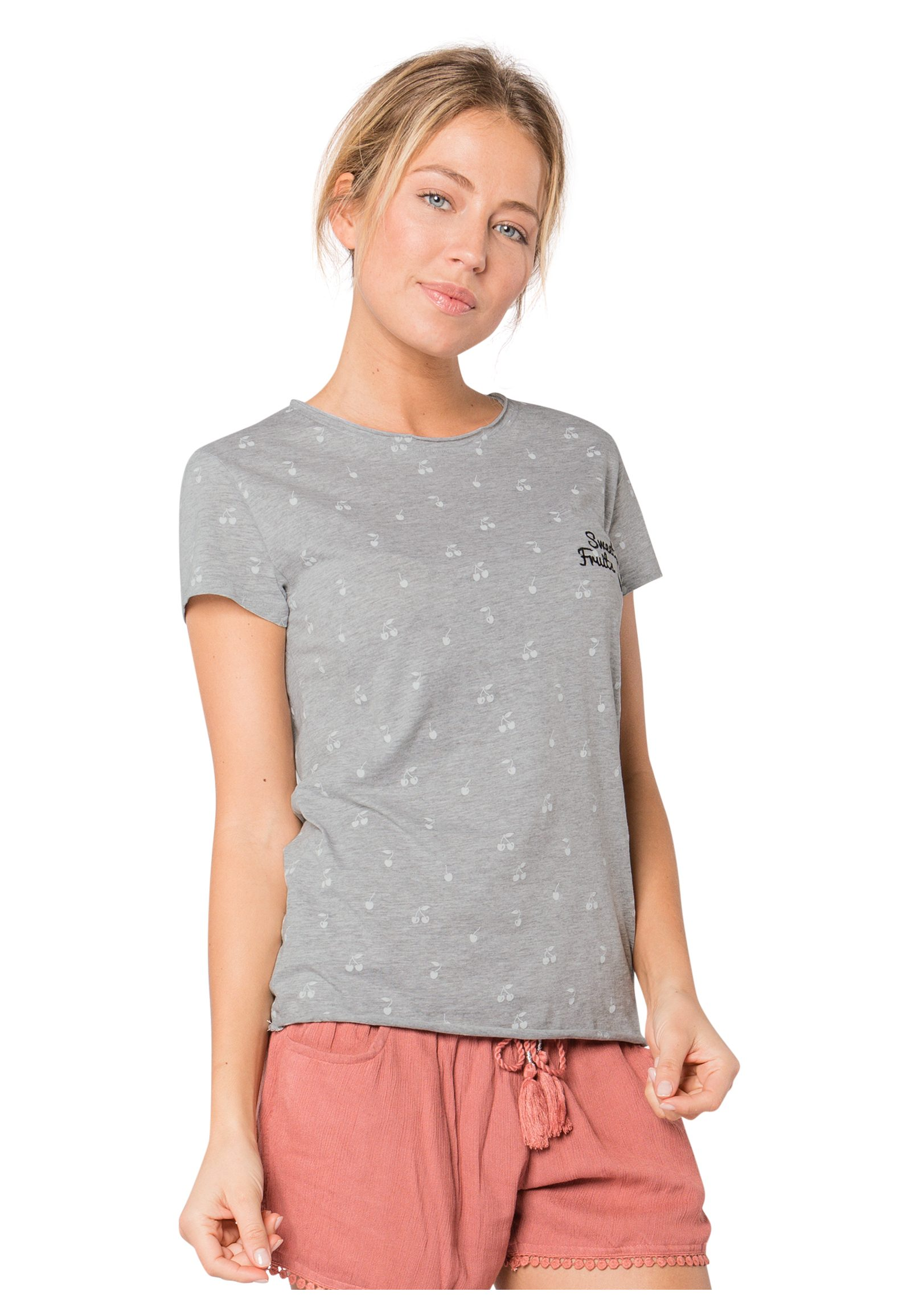 SUBLEVEL Damen T-Shirt Fruits Allover Print grau | 04058427497534