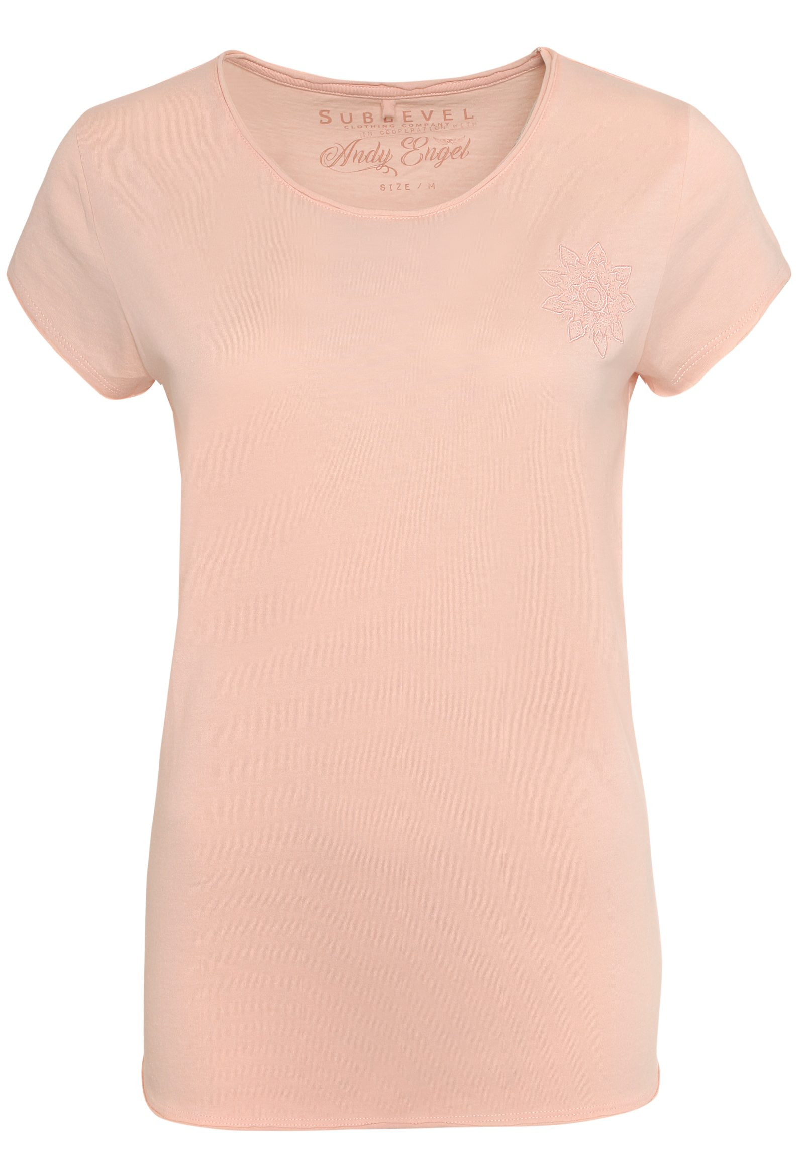 SUBLEVEL Damen T-Shirt mit Mandala-Stickerei rosa | 04058427552424