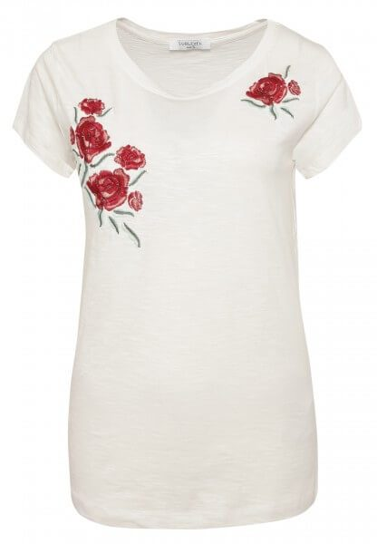 T-Shirt mit Rosen-Stickerei