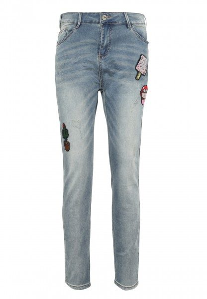 Sweat Jeans mit Patches