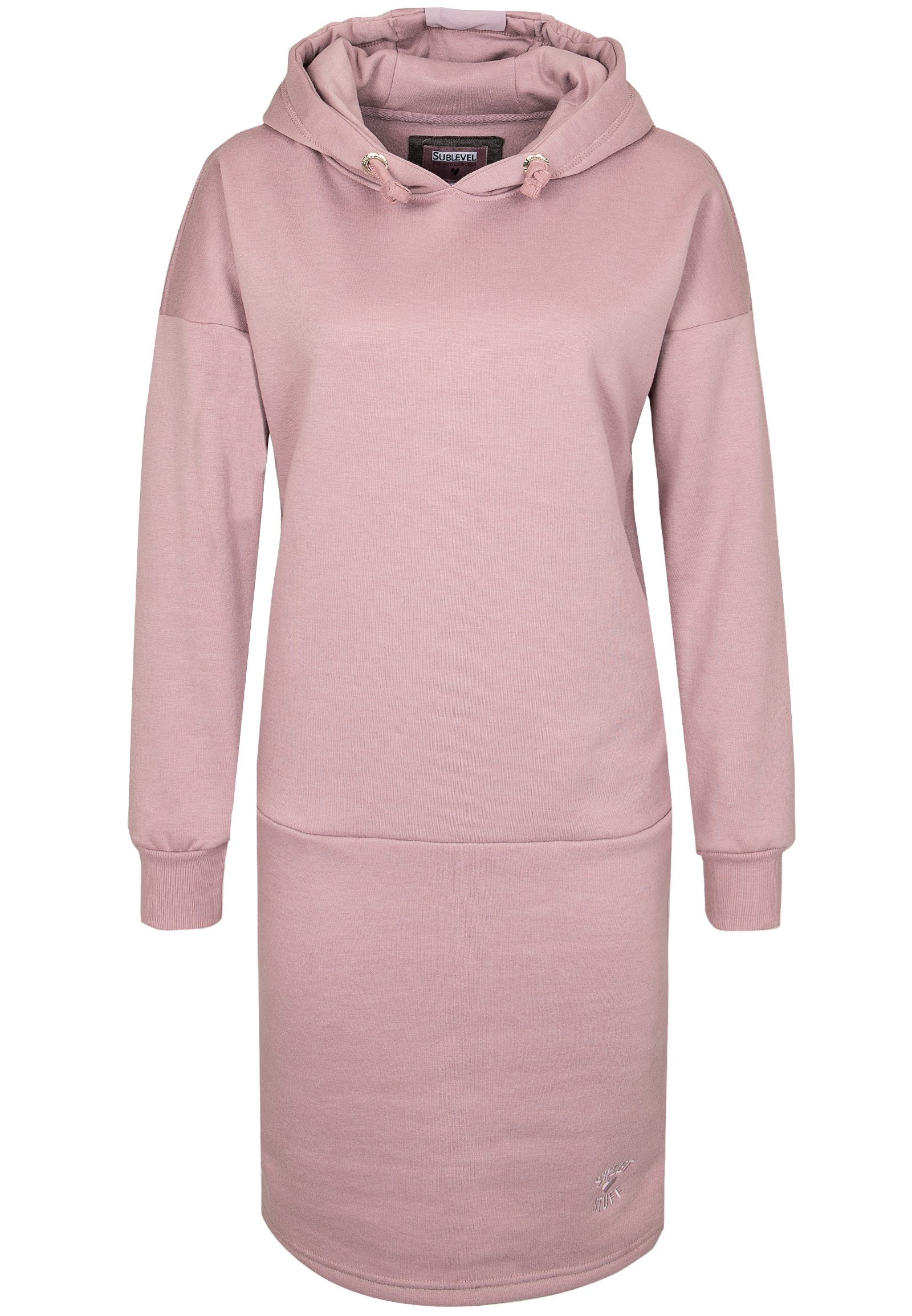 SUBLEVEL Damen Sweat Kleid mit Kapuze rosa | 04058427583565