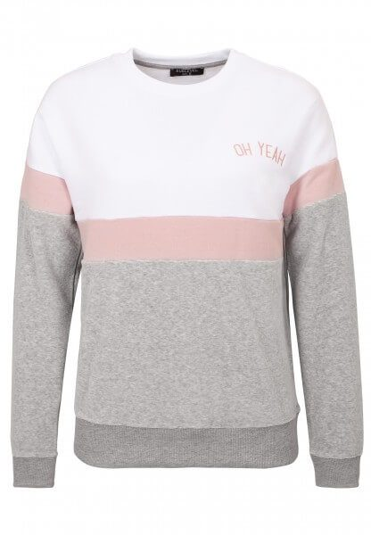 Colorblock Sweatshirt mit Stickerei