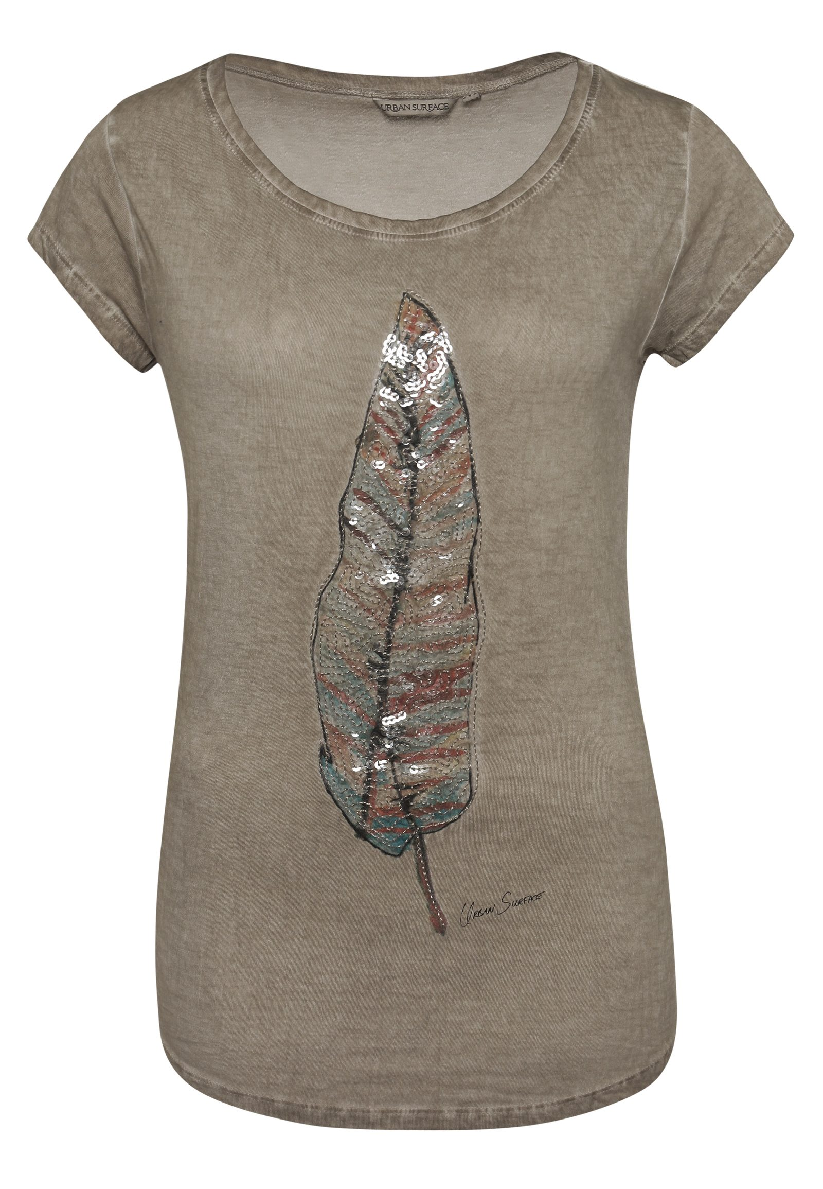 T-Shirt Pailletten-Federprint
